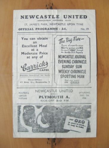 NEWCASTLE UNITED v PLYMOUTH ARGYLE 19461947 Good Condition Football Programme