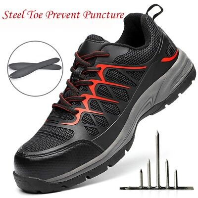 Mens Steel Toe Safty Shoes Prevent Puncture Breathable Casual Sneaker Work Boots
