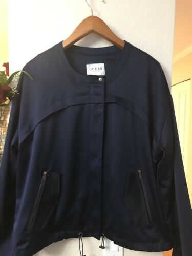 Longues Xl Jacket Manches Marine Addy Bleu Guess Zip Satin Up Femme Taille qx4n1f