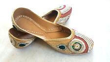 US 8.5women handmade sandal leather shoes beaded mojari juti khussa flip on boho