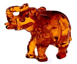 Veritable-Sculpte-Naturel-Ambre-Elephant-Cognac-Figurine-Superbe-Qualite-CRV75