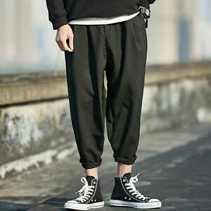 472e681db9c2 Image is loading Men-Harem-Linen-Trousers-Baggy-Loose-Leisure-Cropped-