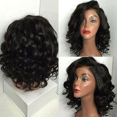 Womens Black Brazilian Short Wavy Curly Wigs