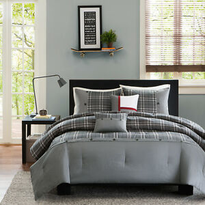 NEW-COZY-CLASSIC-GREY-RED-WHITE-PLAID-CABIN-STRIPE-BOY-COMFORTER-SET-amp-PILLOW