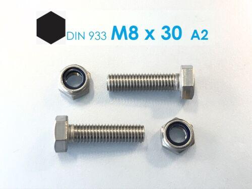 5 Stück Schraube DIN 933 M8x30 Edelstahl A2 Mutter M8 A2