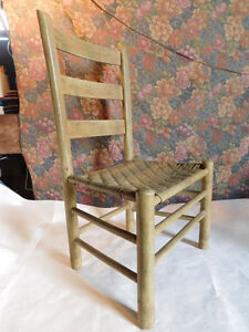 Old Vintage Primitive Ladder Back Shaker Chair Rattan