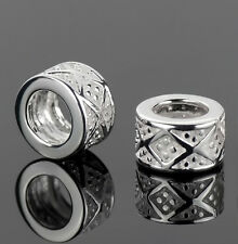 925 Sterling Silver Diamond Pattern Spacer Beads Fit European Charm Bracelets