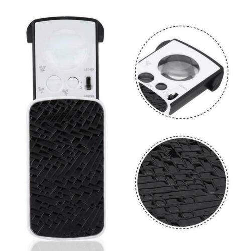 Magnifier Jeweler Loupe LED Slide Loupe Pocket Magnifying Glass 30//60//90X LED