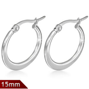 ba84181bea636 Details about 15mm Hypoallergenic non-tarnish Stainless Steel hoop creole  earrings jewelry UK