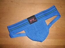 Men's Large Traditional Wide Waistband Polyester Blue Sports Jockstrap Gay UK