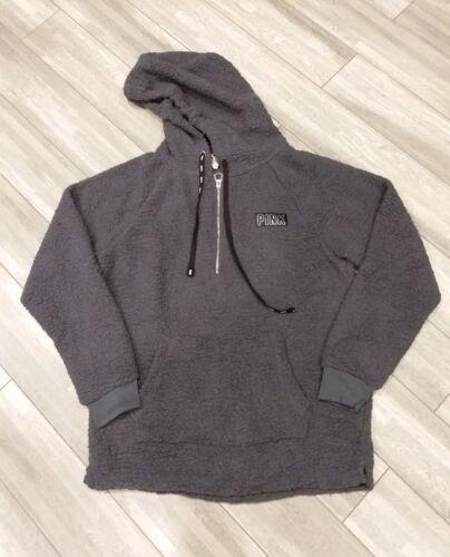 Victorias Secret PINK Set Gray Sherpa Hoodie Pullover Half Zip Black Friday