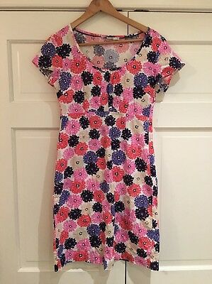 Boden Pink & Purple Floral Print Cotton Pique Weave Shift Dress Sz 4 R EUC