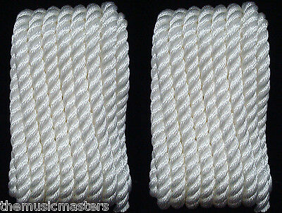 """4 White Twisted 3 Strand 3//8/"""" x 10/' ft HQ Boat Marine DOCK LINES Mooring Ropes"""
