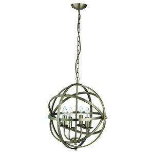 Orbit Antique Brass 4 Light Spherical Ceiling Pendant Light Fitting