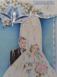 1940s-Vtg-BRIDE-amp-GROOM-Stylish-WEDDING-Gown-Congratulations-GREETING-CARD