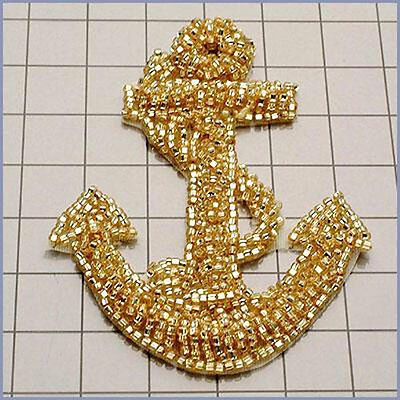 LARGE GOLD BEADED NAUTICAL ANCHOR APPLIQUE 2638-A