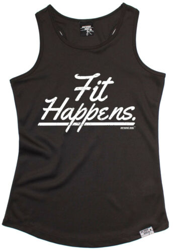 Fit Happens WOMENS DRY FIT VEST singlet birthday funny fashion gift running