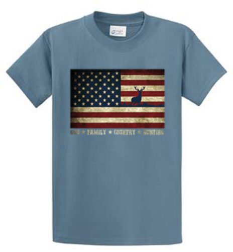 4LT Sizes Port /& Company 6X LT US Flag With Deer Printed Tees Mens M XL 2X