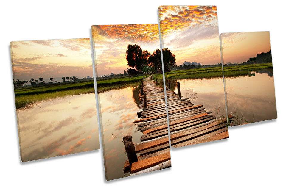 TROPICAL SUNSET Ponte fiume CANVAS Wall Art Multi Box incorniciato incorniciato incorniciato cdc0d7