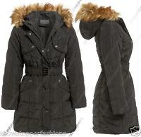 NEW PADDED Womens FUR HOOD PUFFA COAT Ladies Jacket Size 8 10 12 14 Parka Black