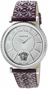 cbeac47189d Versace Women s VQG010015 V-Helix Silver Dial Violet Leather Watch ...