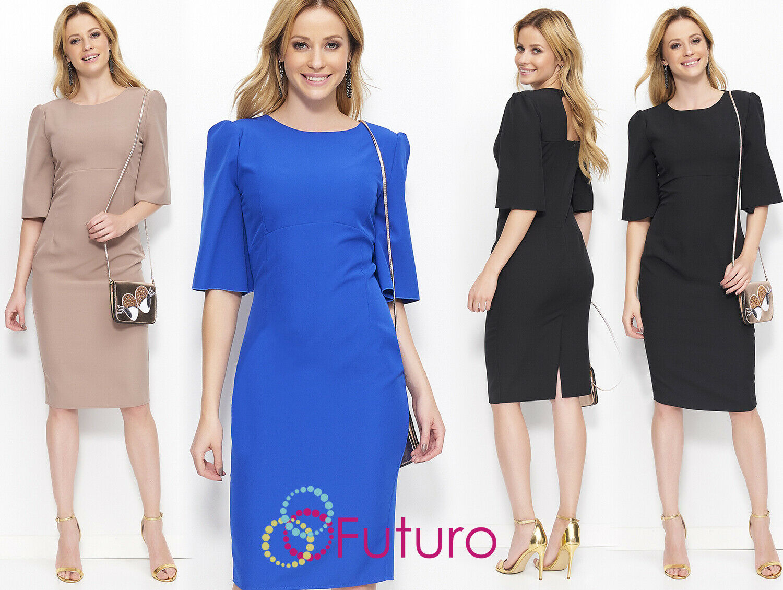 women Elegante 1 2 Manica con Zip & Bottoni Midi Abito a Tubino