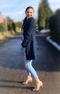Blazer Blau Gr. 34 36 38 40 42 44 46 lange Damen Jacke Mantel  XS S M L neu 390