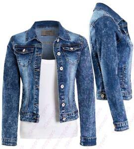 NEW Womens Denim Jacket Jeans Stretch Jackets Distressed Blue Size 8 10 12 14