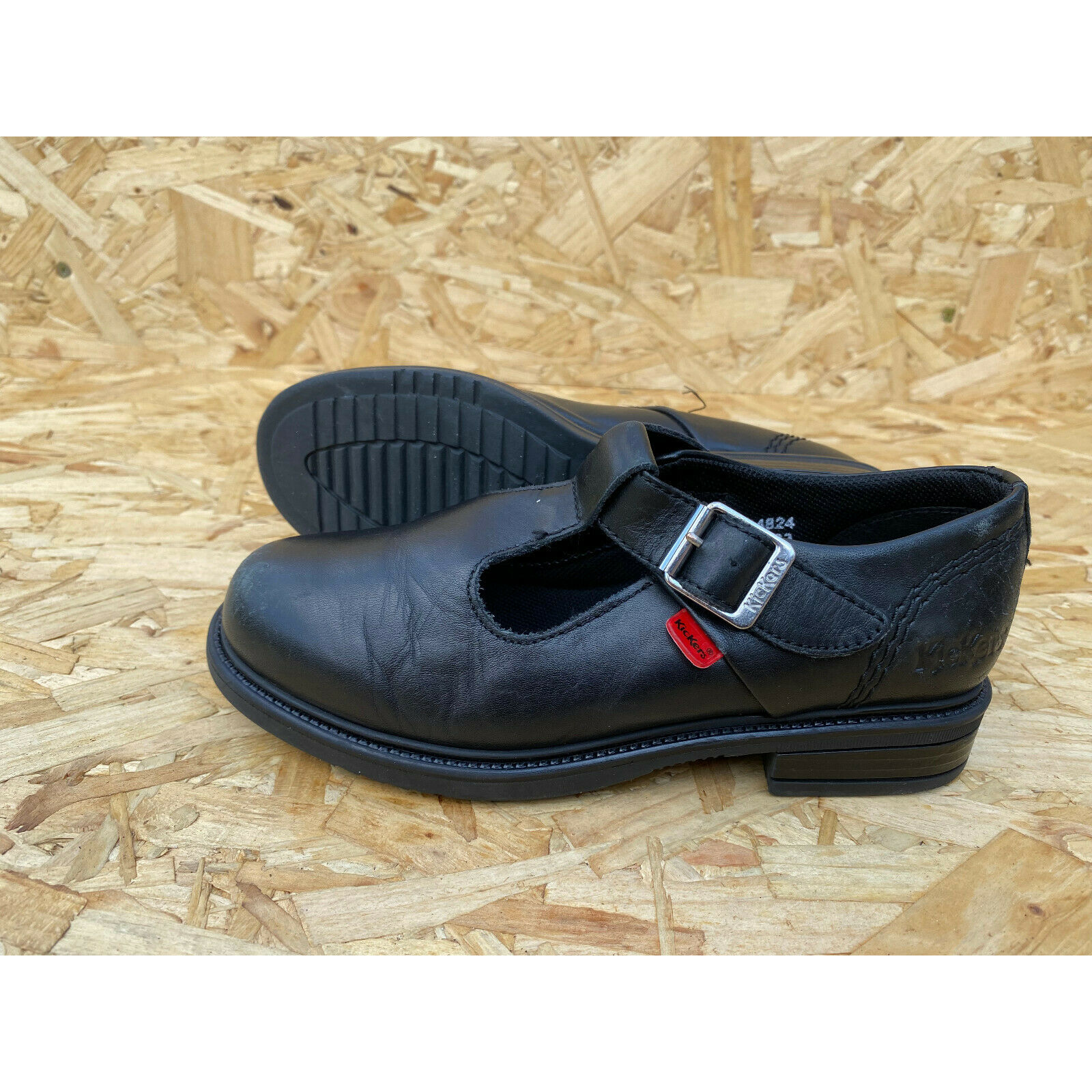 Kickers Lach T Bar Girls Black Leather Shoes UK 1 EU 33 RRP