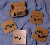 Amc Muscle Car Bamboo Coaster Set 5 Pcs. Laser Eng.