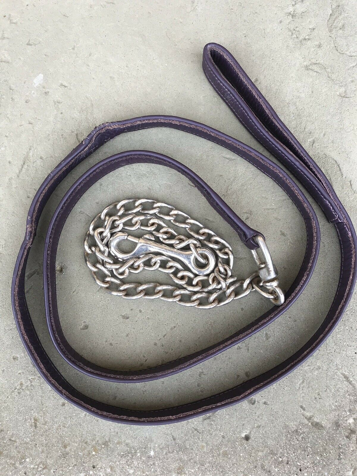Purple Leather And Chain Leadrope