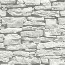 Moroccan Wall White Stone Brick Wallpaper by VIP Arthouse 623009