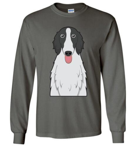 Men Women Ladies Youth Kids Tank Long Sleeve Borzoi Dog Cartoon T-Shirt Tee