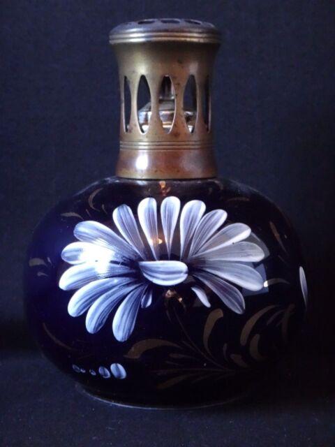 Ancienne lampe berger en faience décor floral