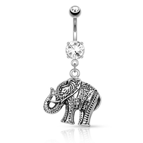"""14g 3//8/"""" Dangle Clear CZ Gem Elephant Navel Belly Button Ring #1"""