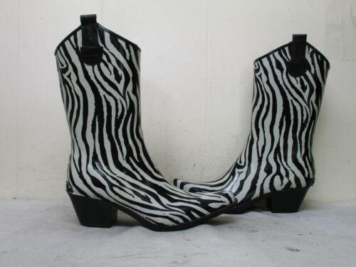 Corkys Black White Zebra Rubber Cowboy Rain Boots… - image 1
