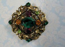 Ornate Old World Style Vintage Brooch Pin Green Amber Glass Rhinestones Czech?