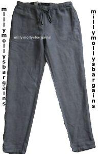 New-Womens-Marks-amp-Spencer-Blue-Linen-Peg-Leg-Trousers-Size-14-Medium