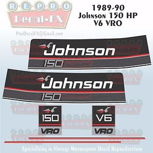 Details about 1989-90 Johnson 150 HP V6 Sea-Horse Outboard Reproduction 6Pc  Marine Vinyl Decal