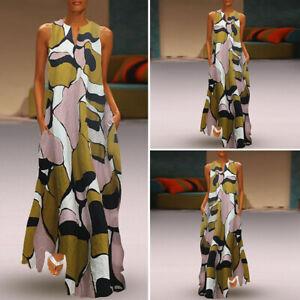 Women-Sleeveless-V-Neck-Printed-Long-Maxi-Dress-Cocktail-Evening-Dresses-Loose