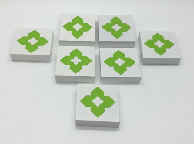 CROSSWISE Game Replacement Pieces Parts ALL 7 GREEN SHAPE TILES Wooden Squares