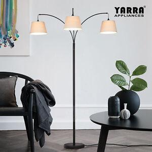 3 Lt Acro Curve Morden Floor Lamp Stand Fabric Shade Metal Base Black H193cm Ebay