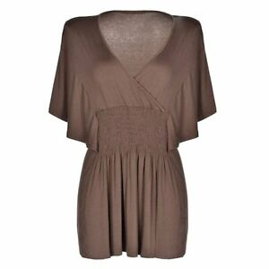 a1c47b16b7bfb Image is loading NEW-Meaneor-Plus-Size-Slimming-V-neck-Smocked-