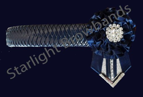 Browband Navy Patent Herringbone by Starlight Browbands