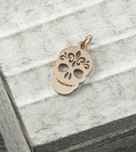 Charm 18x10x1mm SUGAR SKULL Day of the Dead Rose Gold Golden Tone Pendant