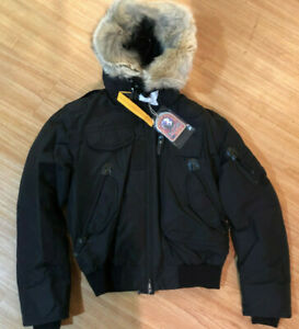 NEW-PARAJUMPERS-MENS-GOBI-JACKET-BLACK-BOMBER-S-XL-DOWN-COYOTE-TRIM-REMOVABLE