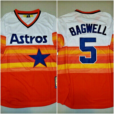 low priced 93a2e 85611 Houston Astros Jeff Bagwell #5 Retro Classic Replica Mens Large Baseball  Jersey | eBay