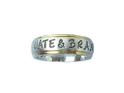 2 Stainless Steel 6mm Gold Edge Personalized Couples Name Rings Wedding Bands