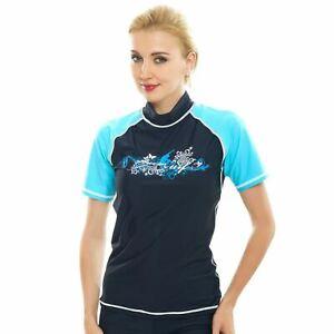 Details about Women Rash Guard Top Ladies Swim Shirt Long Short Sleeve Surf  Wear Vest Swimsuit