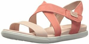 f57cd5395  120 New Ecco Damara Rose Dust Coral Leather Shoes Comfort Sandals ...